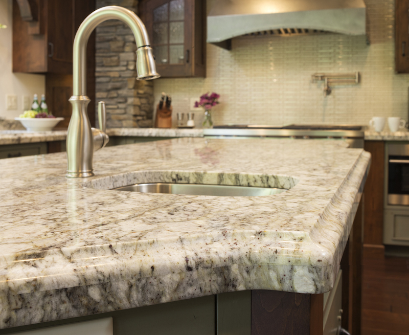 Rainbow Granite Kitchen Counters In A Remodeled Kitchen In St Cloud MN.