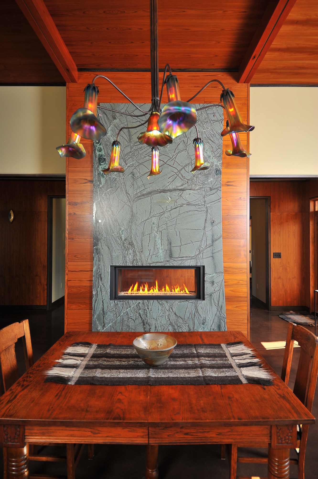 Beautiful Soapstone Fireplace Surround by C&D Granite Countertops in Minneapolis MN. View our fireplace photo gallery.