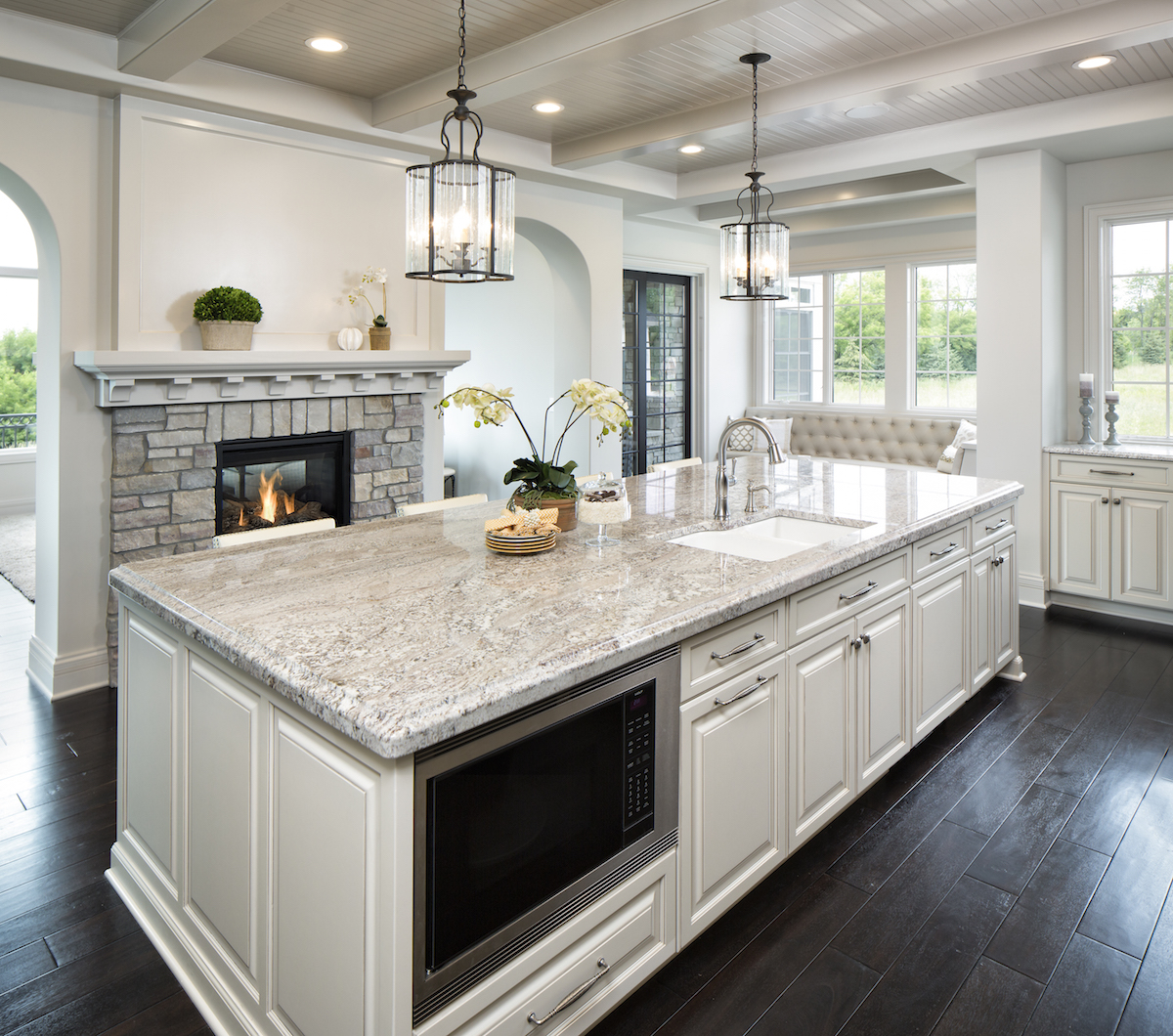 Taupe white granite countertops in kitchen c d granite for White cabinets granite countertops