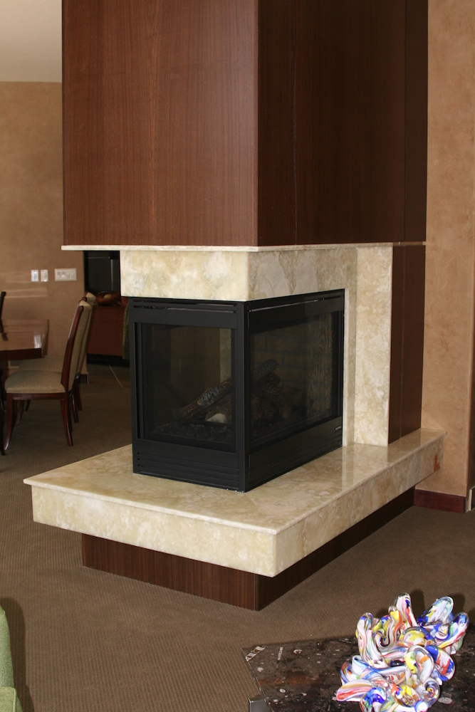 Fireplace surround by C&D Granite Minneapolis MN