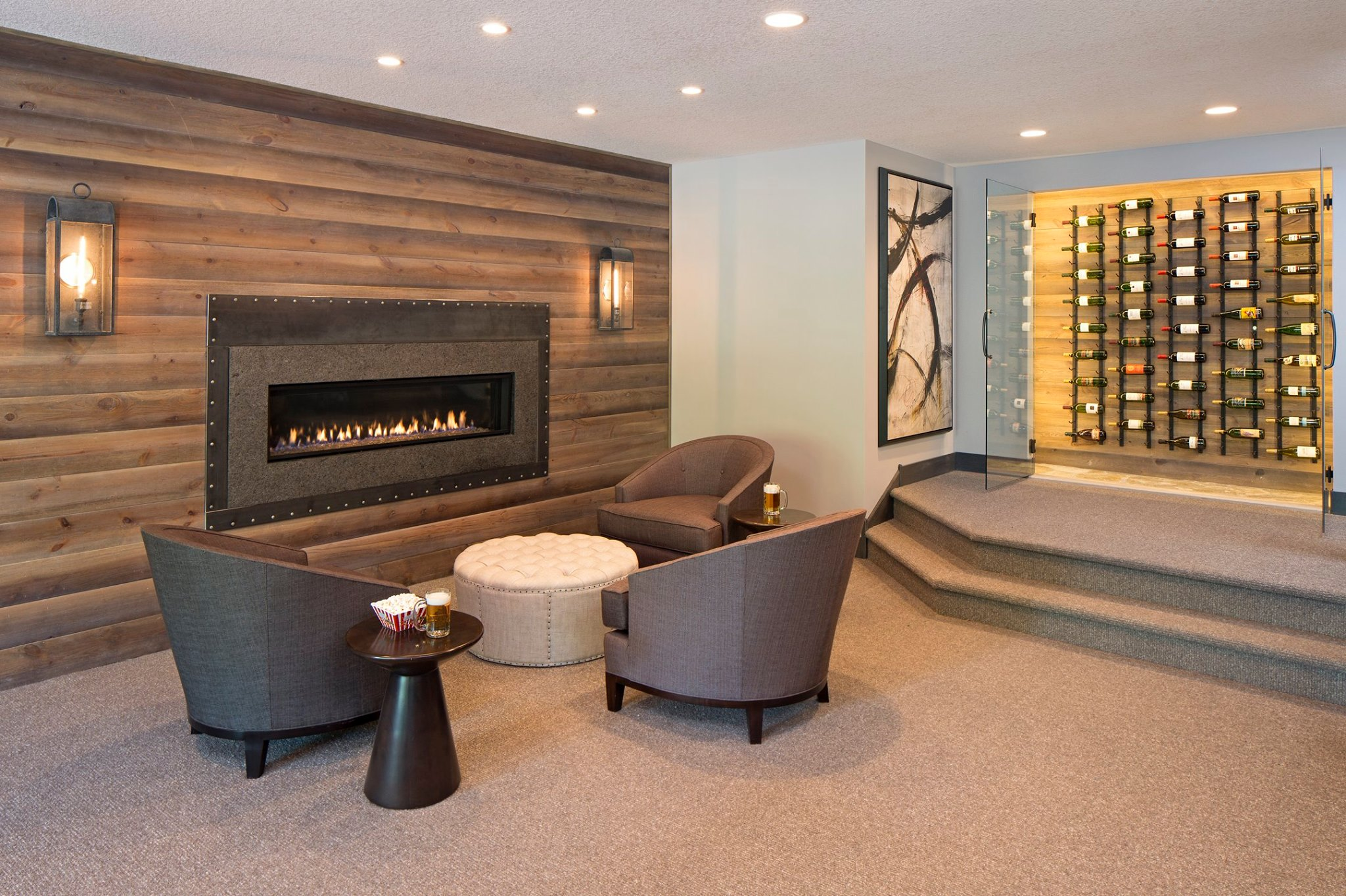 One piece granite fireplace surround in basement