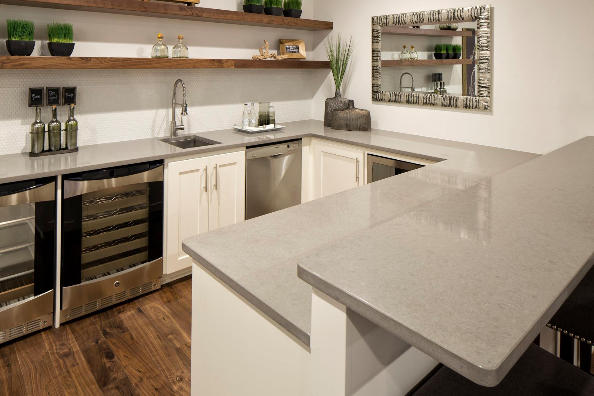 grey and white kitchen backsplash with Quartz Countertops Vs Granite Countertops on Beveled Arabesque Tiles as well Cvh24x24sub likewise Kitchen Backsplash Ideas furthermore Modular Kitchen In Black And White Theme moreover Gray White Kitchen Remodel.